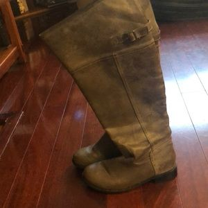 Shoes - Knee High Distressed Riding Boots